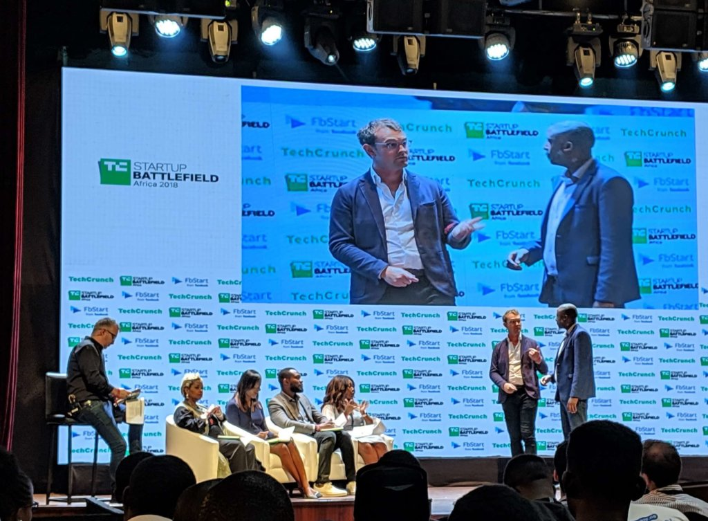 Apollo Agriculture co-founders Eli Pollak and Benjamin Njenga onstage at Startup Battlefield Africa