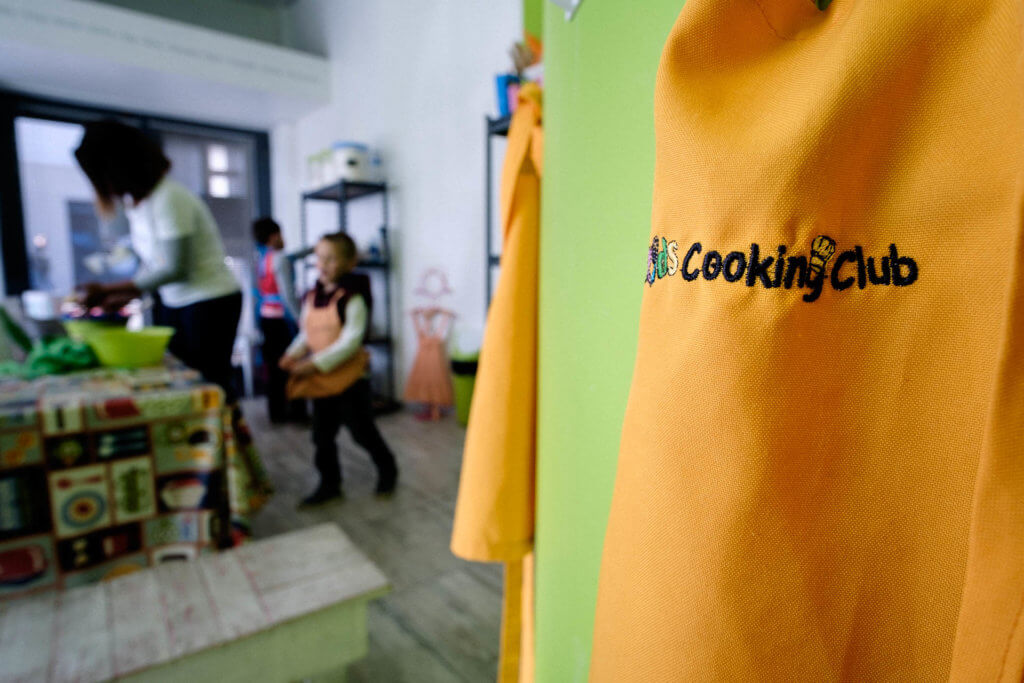 Apron hanging on wall at Kids Cooking Club