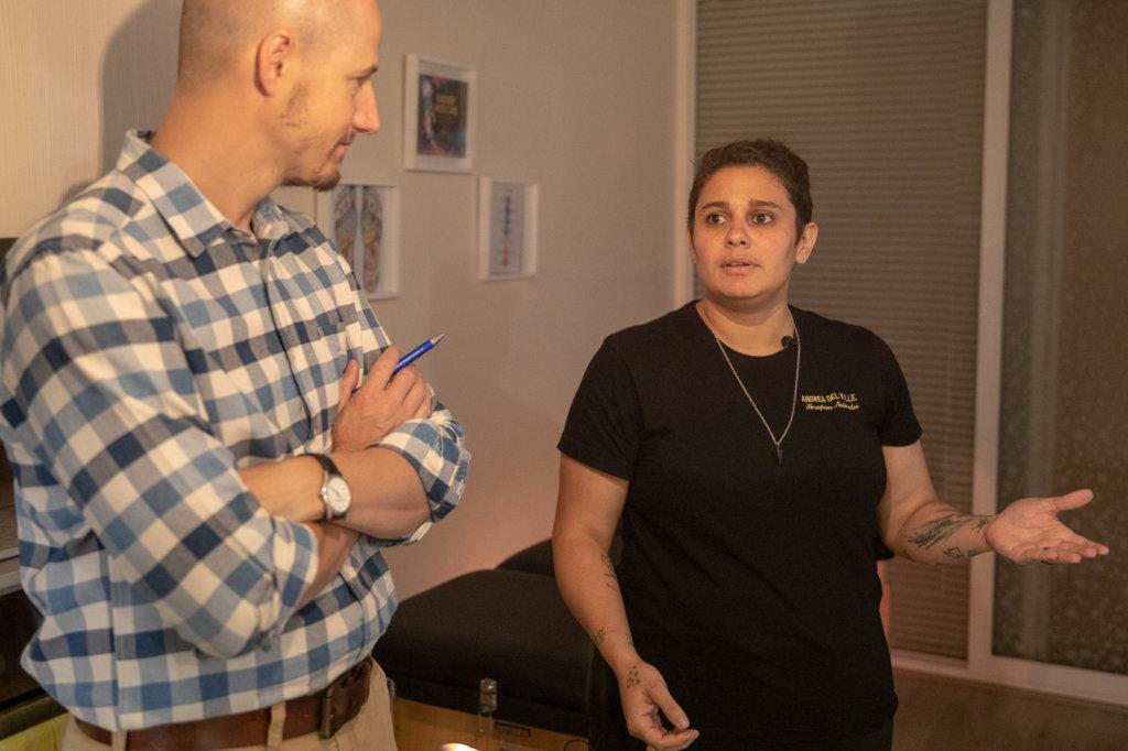 Andrea del Valle in conversation with Destacame co-founder Sebastián Ugarte.