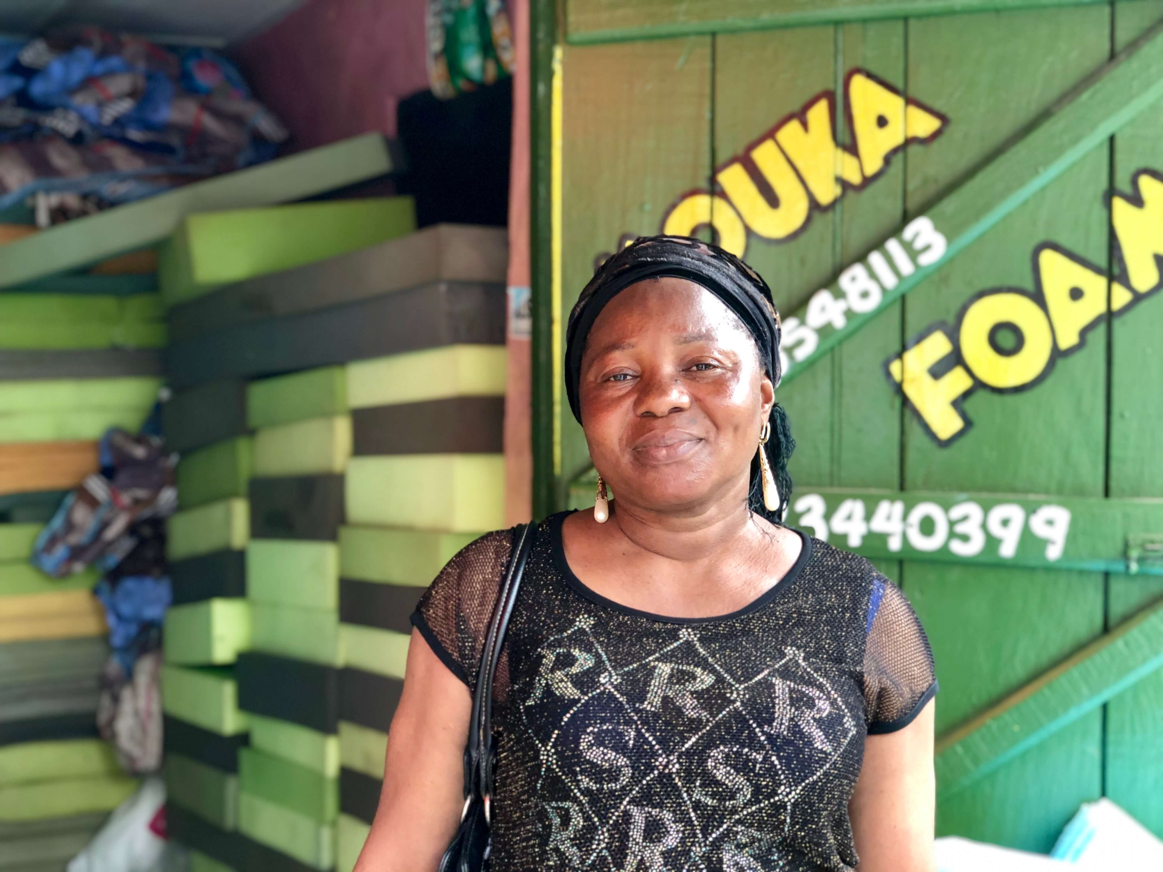 Osholabi runs her own business selling mattresses in Lagos. She initially took out a $330 loan from Accion Microfinance Bank, and her business did so well that she was able to expand her sales to the adjacent plot. She has recently taken out a $4,700 loan to expand to another market in Lagos.